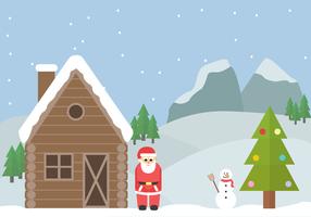 Vettore di paesaggio invernale gratis