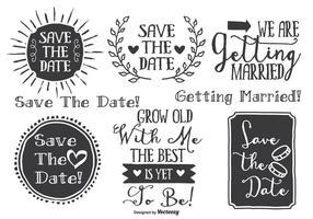 Set di etichette di nozze stile disegnato a mano vettore