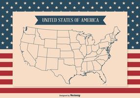 Illustrazione del profilo mappa degli Stati Uniti vettore