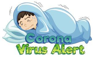 tema coronavirus con ragazzo malato a letto vettore
