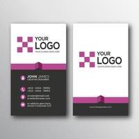modello di progettazione di biglietto da visita verticale viola e bianco