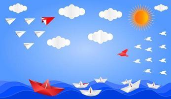 concetto di leadership origami vista sul mare vettore