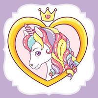 testa di unicorno in cornice cuore