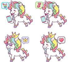 unicorni colorati con espressioni diverse