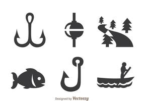 Pesca icone grigie vettore