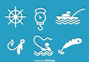 Pesca icone bianche vettore