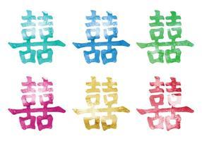 simboli vettoriali doppia felicità