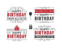 Set di etichette di compleanno tipografiche vettore