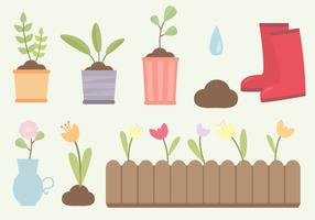 Vettore gratuito di elementi di giardinaggio