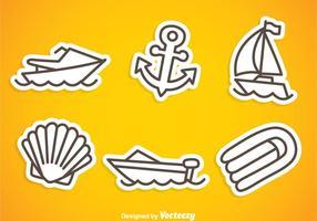 Icone di contorno grigio nautica