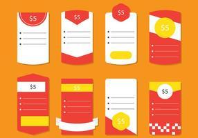 Tabella dei prezzi rossa vettore
