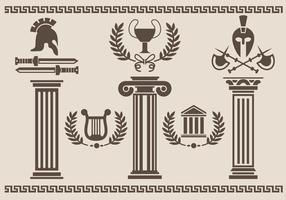 Silhouette del pilastro romano vettore