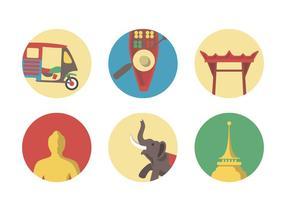 Insieme dell'icona di Bangkok di vettore