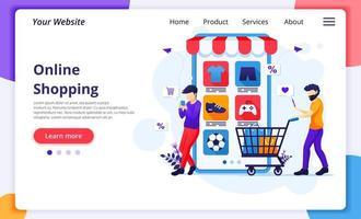 landing page dello shopping online di due uomini
