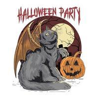 disegno di pipistrello gatto festa di halloween vettore