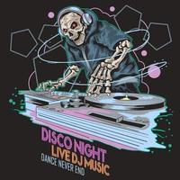 skeleton music dj party design vettore