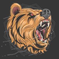 testa dell'orso grizzly spaventoso vettore