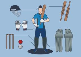 Vettore del giocatore di cricket
