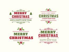 Bellissimo set di etichette di Natale vettore