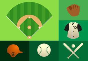 Illustrazione di elementi di baseball vettore