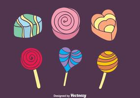 Icone variopinte della torta e della caramella