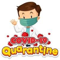 covid-19 poster di quarantena con maschera da medico