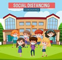 poster di social distanza con i bambini vettore