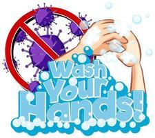 poster per covid-19 con lavarsi le mani