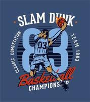 emblema di campionato di pallacanestro slam dunk vettore