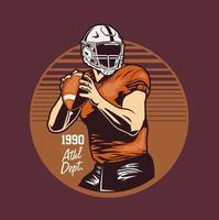 emblema di stile retrò con giocatore di football americano tenendo la palla