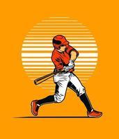 mazza oscillante del giocatore di baseball sull'arancia vettore