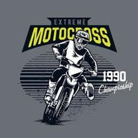 emblema di motocross estremo con pilota su dirt bike