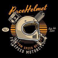 casco da motociclista davanti a pistoni incrociati