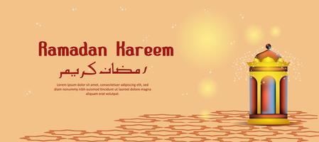 Lanterna Ramadan Kareem incandescente vettore
