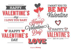 Carino tipografiche etichette di San Valentino vettore