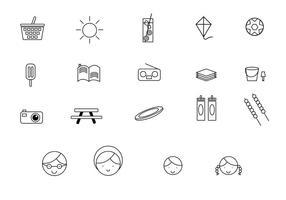 Famiglia Picnic Line Icons vettore