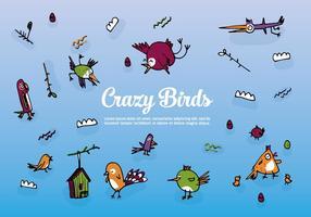 Set gratuito di uccelli disegnati a mano vettore sfondo