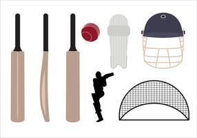 Set di simboli di cricket e oggetti nel vettore