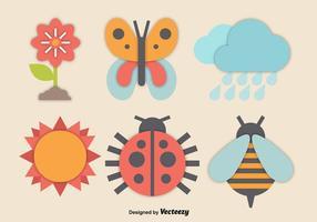Icone colorate di primavera vettore
