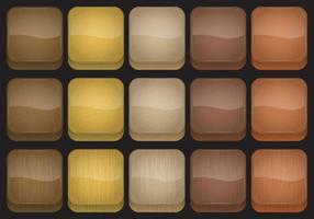 Vettori di pulsanti di app di legno