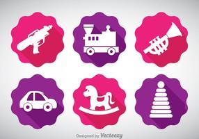 Icone dei giocattoli dei bambini di vettore