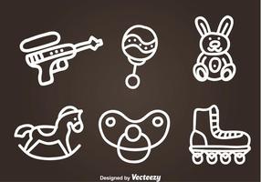 Icone disegnate a mano di vettore dei giocattoli dei bambini