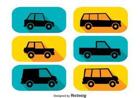 Icone di lunga ombra di automobili vettore