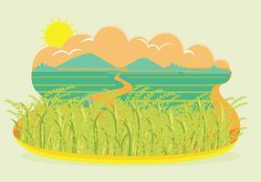 Vettore del paesaggio del giacimento del riso