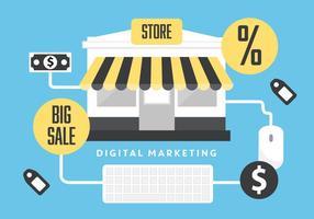 Fondo di vettore marketing piatto digitale con negozio