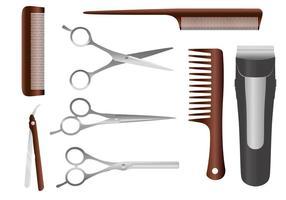 Vettori di strumenti del barbiere
