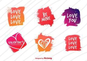 Vettori di etichetta acquerello amore
