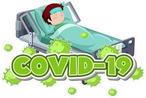 modello di segno covid 19 con ragazzo malato nel letto vettore