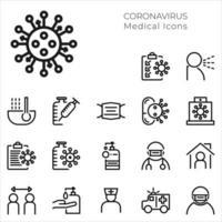 impostare icone mediche e coronavirus vettore