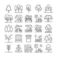 set di icone di elementi del parco. vettore